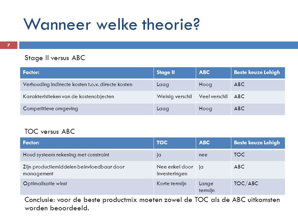 Wanneer welke theorie? 7 Stage II versus ABC TOC versus ABC Conclusie: voor de beste productmix moeten zowel de TOC als de ABC uitkomsten worden beoor
