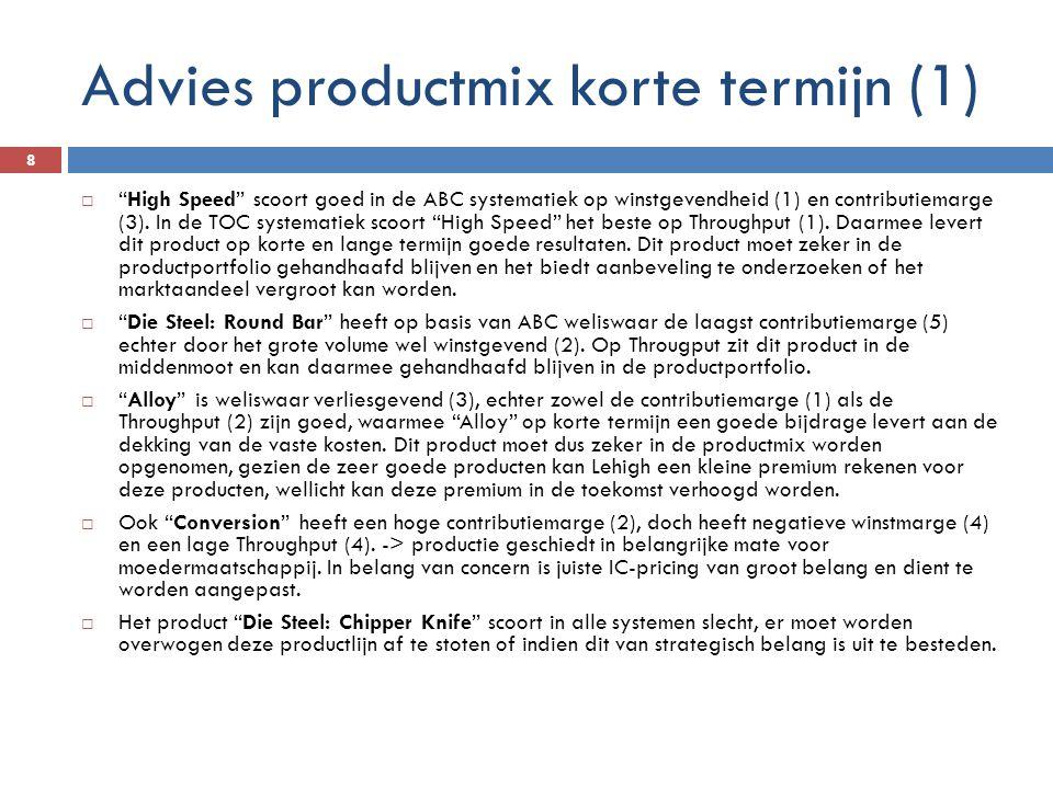 """Advies productmix korte termijn (1) 8  """"High Speed"""" scoort goed in de ABC systematiek op winstgevendheid (1) en contributiemarge (3). In de TOC syste"""