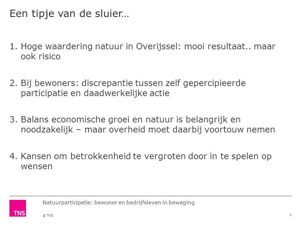 © TNS Een tipje van de sluier… 2 1.Hoge waardering natuur in Overijssel: mooi resultaat..