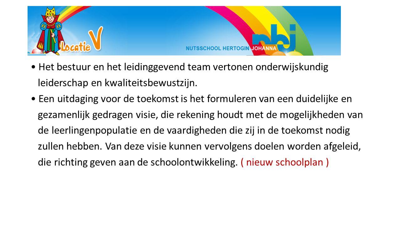 Het bestuur en het leidinggevend team vertonen onderwijskundig leiderschap en kwaliteitsbewustzijn.