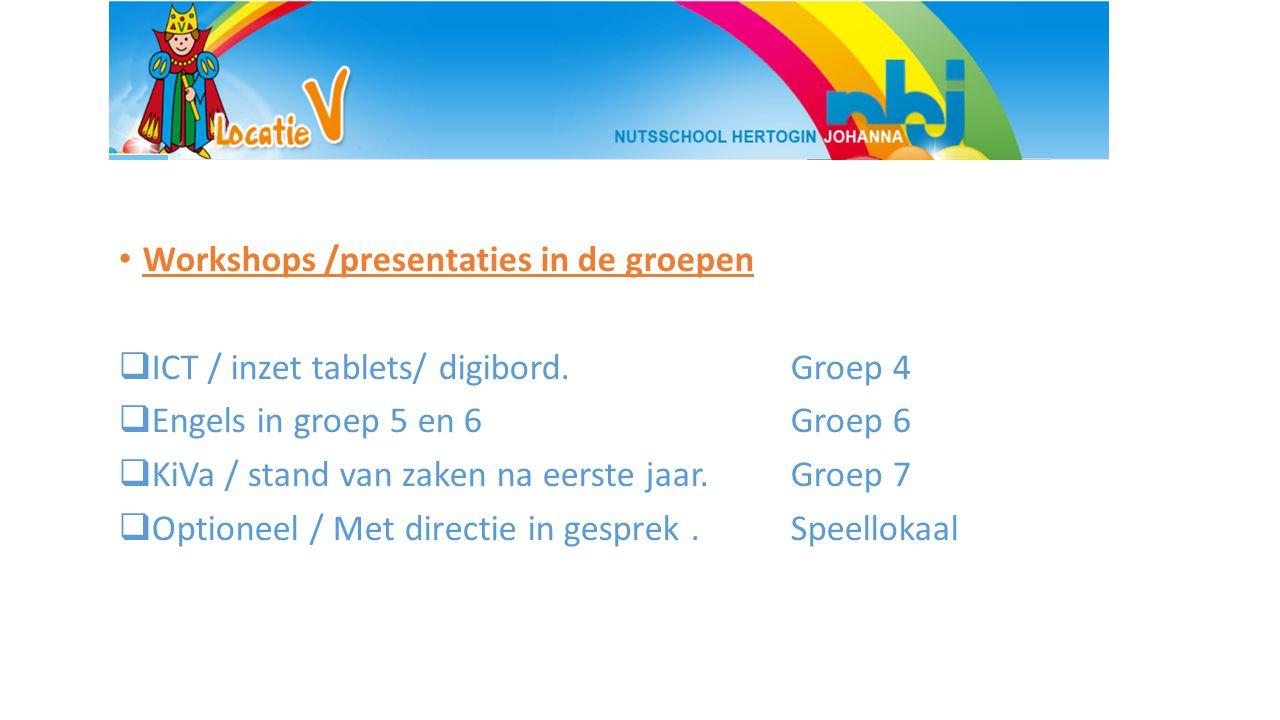 Workshops /presentaties in de groepen  ICT / inzet tablets/ digibord.Groep 4  Engels in groep 5 en 6 Groep 6  KiVa / stand van zaken na eerste jaar.Groep 7  Optioneel / Met directie in gesprek.Speellokaal