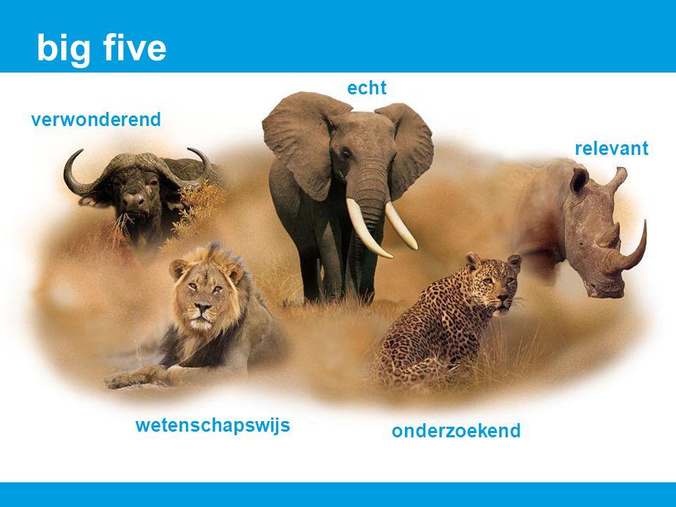 big five verwonderend relevant wetenschapswijs onderzoekend echt