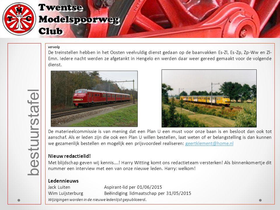vervolg De treinstellen hebben in het Oosten veelvuldig dienst gedaan op de baanvakken Es-Zl, Es-Zp, Zp-Ww en Zl- Emn. Iedere nacht werden ze afgetank