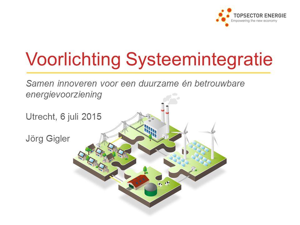 Achtergrond 2014: 1 e subsidieregeling voor systeemintegratie – consultatie 2015: behoefte aan meer onderbouwing van de inhoud 4 studies uitgezet via aanbesteding: Duurzaam-fossiel en rol biomassa: ECN-consortium Energieopslag: DNV GL-consortium Hybride infrastructuren: DNV GL-consortium Eindgebruikers: Berenschot-consortium Info op www.systeemintegratie2015.nl Focus: betekenis voor systeemintegratie en kansen BV NL Periode: oktober 2014 – maart 2015