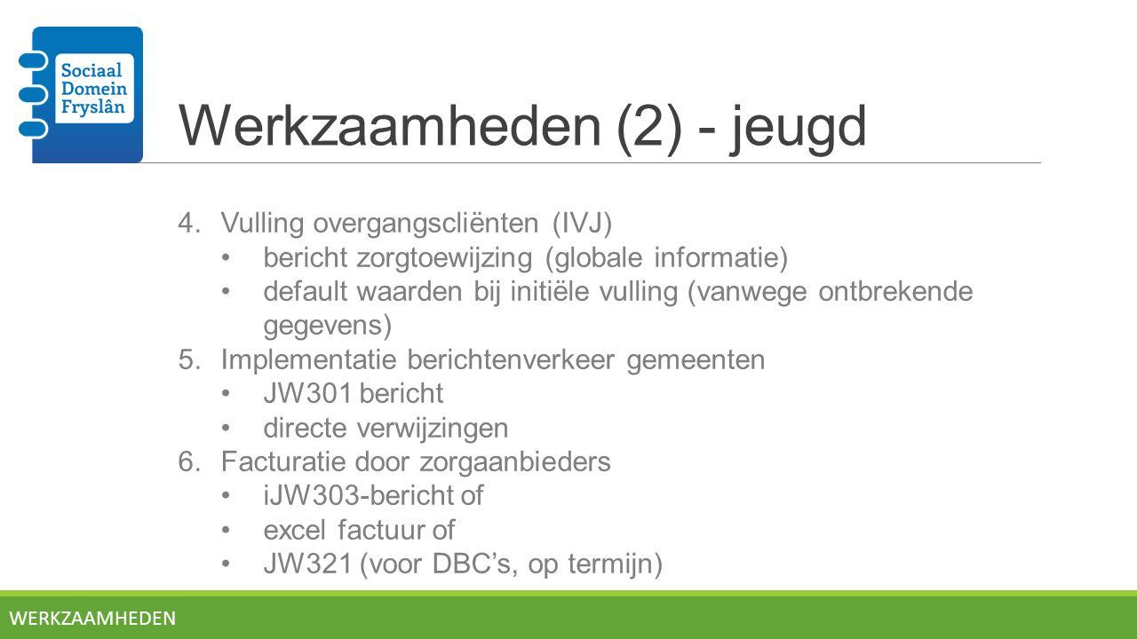 Werkzaamheden (2) - jeugd 4.Vulling overgangscliënten (IVJ) bericht zorgtoewijzing (globale informatie) default waarden bij initiële vulling (vanwege ontbrekende gegevens) 5.Implementatie berichtenverkeer gemeenten JW301 bericht directe verwijzingen 6.Facturatie door zorgaanbieders iJW303-bericht of excel factuur of JW321 (voor DBC's, op termijn) WERKZAAMHEDEN
