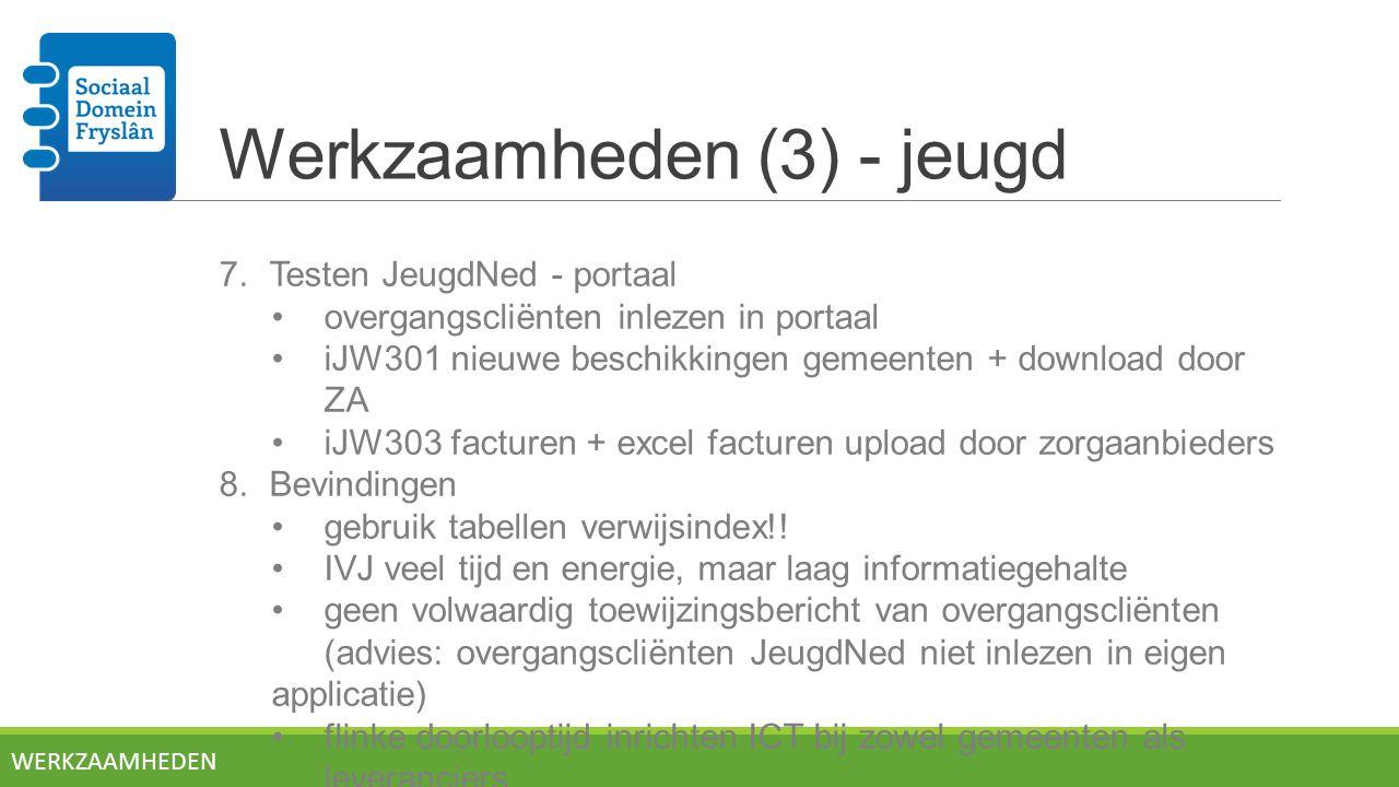 Werkzaamheden (3) - jeugd 7.Testen JeugdNed - portaal overgangscliënten inlezen in portaal iJW301 nieuwe beschikkingen gemeenten + download door ZA iJW303 facturen + excel facturen upload door zorgaanbieders 8.Bevindingen gebruik tabellen verwijsindex!.