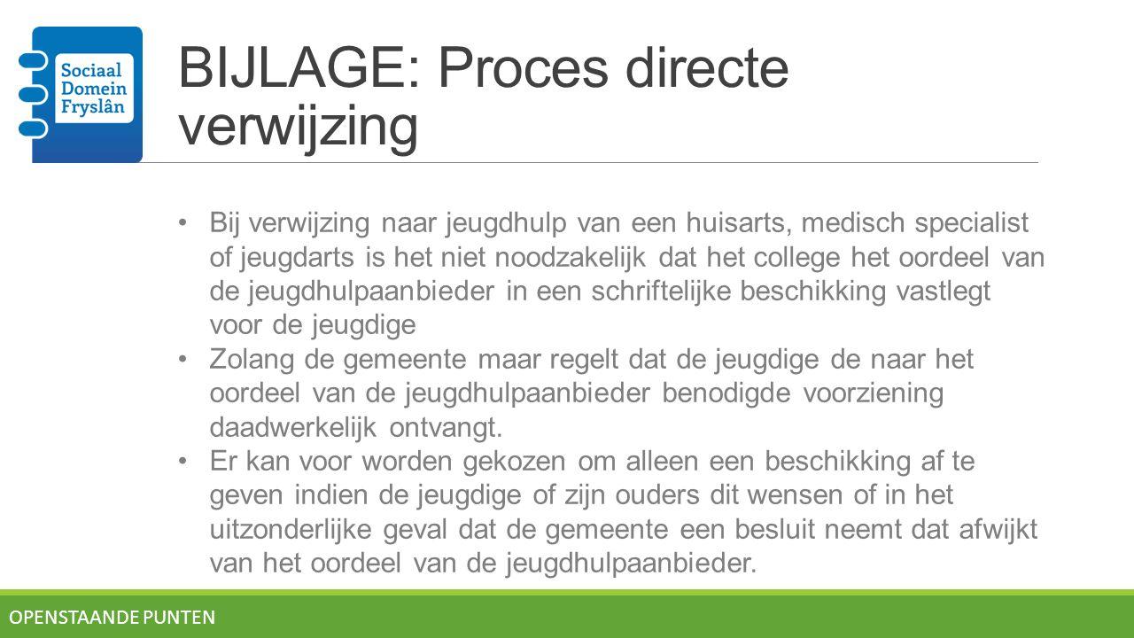 BIJLAGE: Proces directe verwijzing OPENSTAANDE PUNTEN Bij verwijzing naar jeugdhulp van een huisarts, medisch specialist of jeugdarts is het niet nood