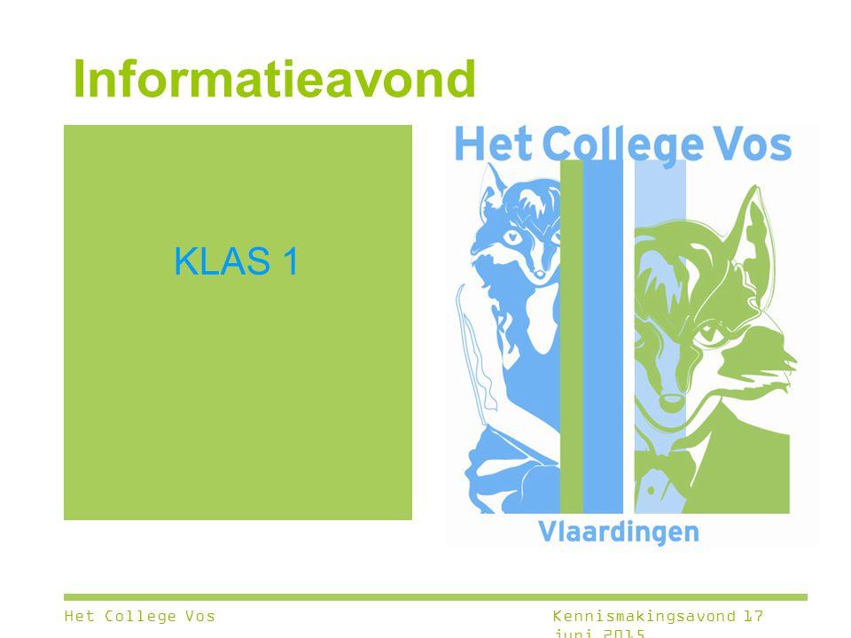 KLAS 1 Informatieavond Het College VosKennismakingsavond 17 juni 2015