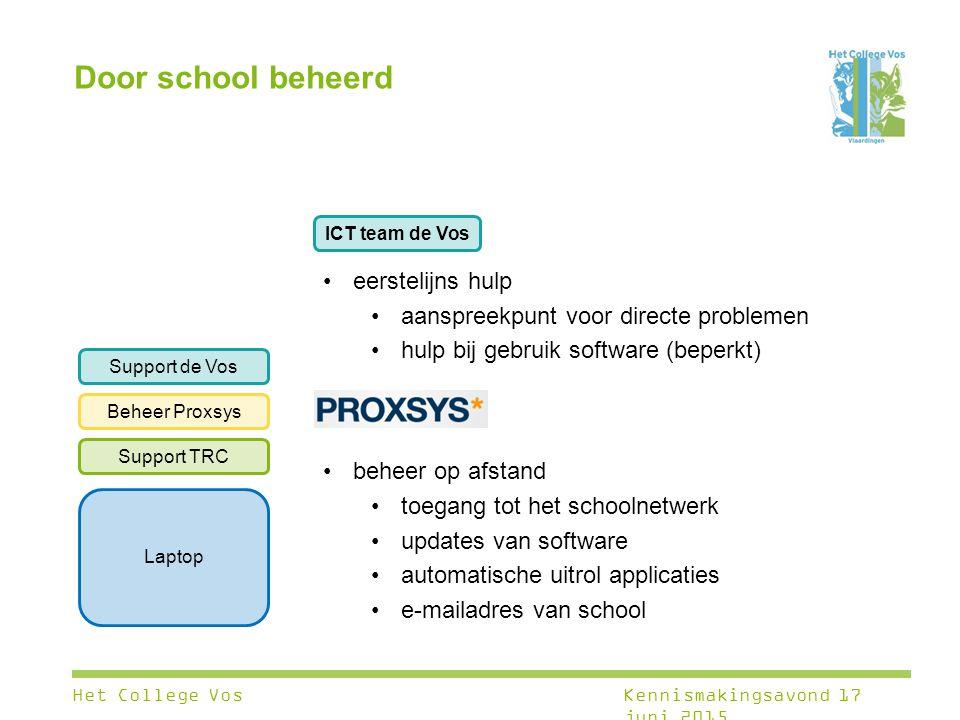 Laptop Support TRC Beheer Proxsys Support de Vos eerstelijns hulp aanspreekpunt voor directe problemen hulp bij gebruik software (beperkt) beheer op a