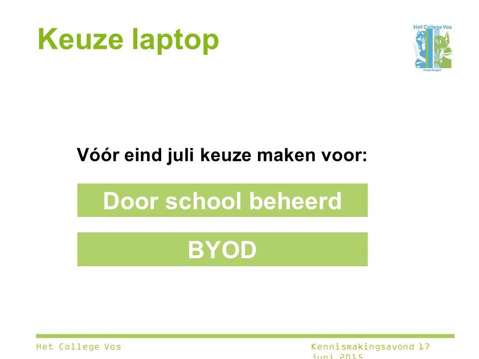 Keuze laptop Vóór eind juli keuze maken voor: Door school beheerd BYOD Het College VosKennismakingsavond 17 juni 2015