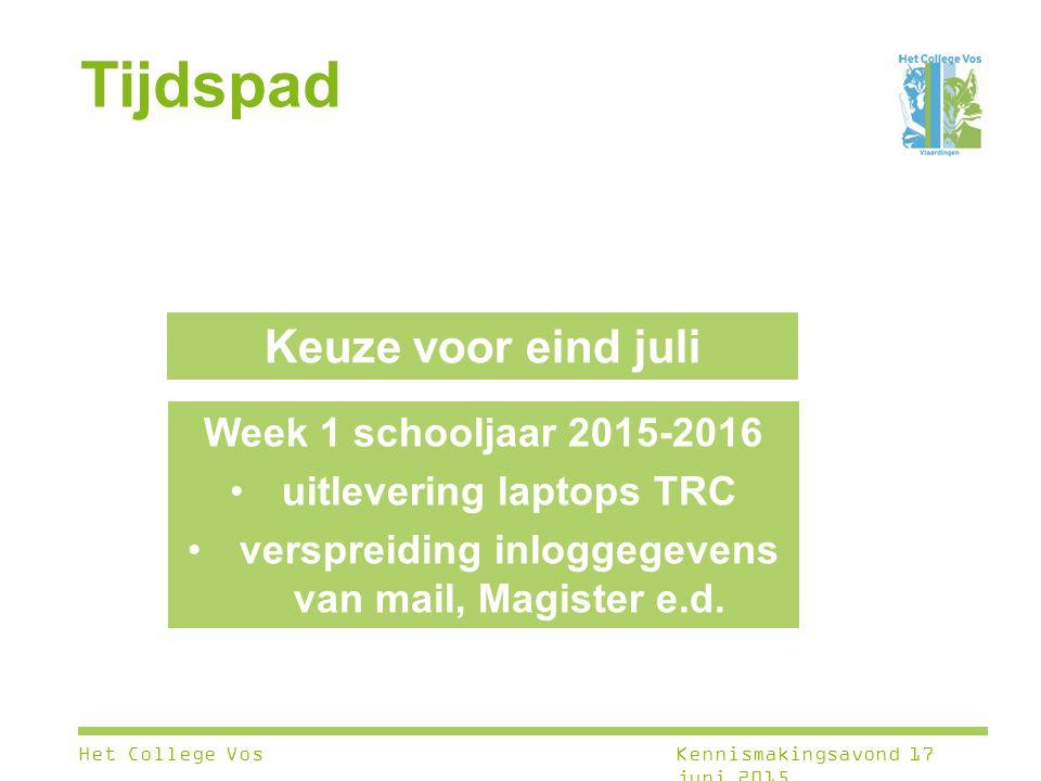 Tijdspad Week 1 schooljaar 2015-2016 uitlevering laptops TRC verspreiding inloggegevens van mail, Magister e.d. Keuze voor eind juli Het College VosKe