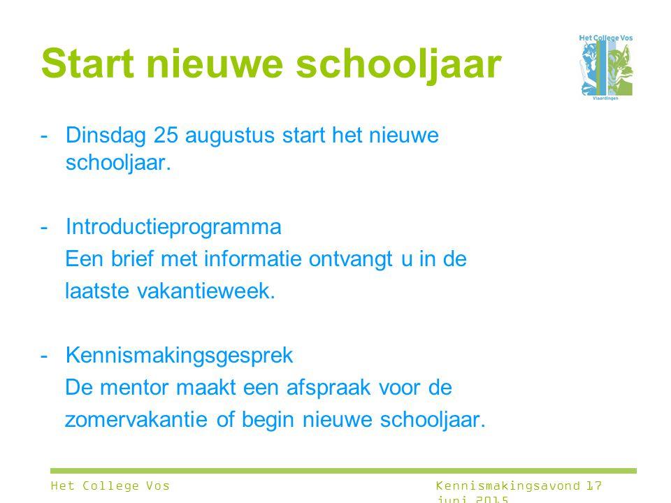 Start nieuwe schooljaar -Dinsdag 25 augustus start het nieuwe schooljaar. -Introductieprogramma Een brief met informatie ontvangt u in de laatste vaka