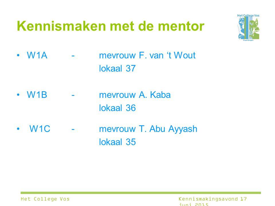 Kennismaken met de mentor W1A - mevrouw F. van 't Wout lokaal 37 W1B-mevrouw A. Kaba lokaal 36 W1C-mevrouw T. Abu Ayyash lokaal 35 Het College VosKenn
