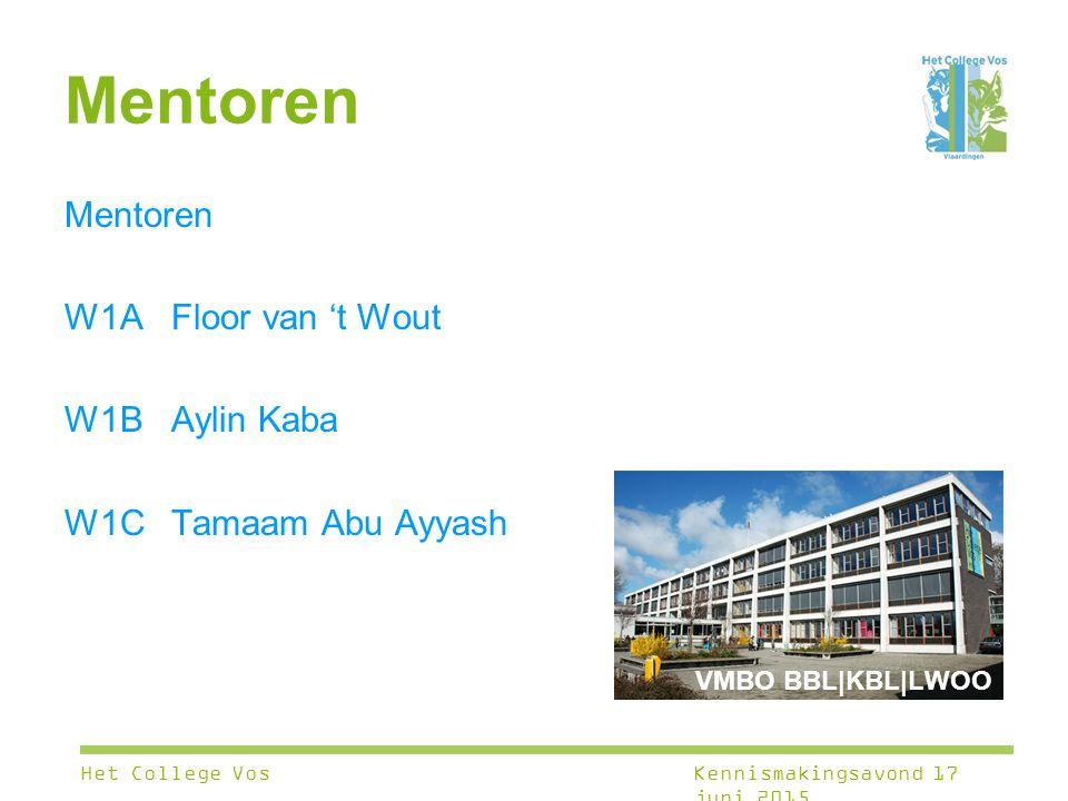 Mentoren W1A Floor van 't Wout W1B Aylin Kaba W1CTamaam Abu Ayyash Het College VosKennismakingsavond 17 juni 2015 VMBO BBL|KBL|LWOO