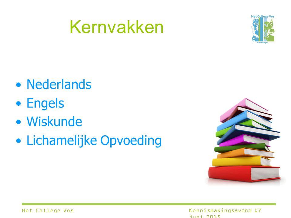 Kernvakken Nederlands Engels Wiskunde Lichamelijke Opvoeding Het College VosKennismakingsavond 17 juni 2015