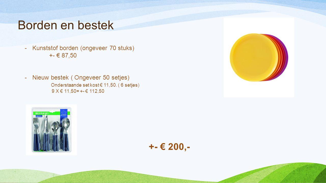 Borden en bestek -Kunststof borden (ongeveer 70 stuks) +- € 87,50 -Nieuw bestek ( Ongeveer 50 setjes) Onderstaande set kost € 11,50.