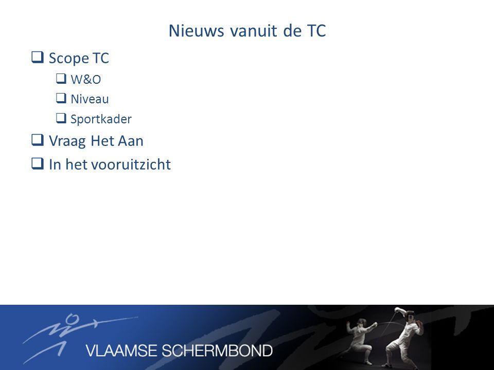 Nieuws vanuit de TC  Scope TC  W&O  Niveau  Sportkader  Vraag Het Aan  In het vooruitzicht