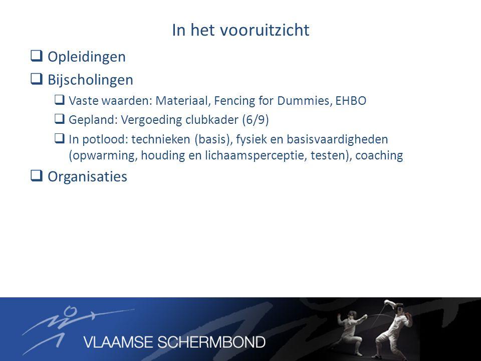 In het vooruitzicht  Opleidingen  Bijscholingen  Vaste waarden: Materiaal, Fencing for Dummies, EHBO  Gepland: Vergoeding clubkader (6/9)  In potlood: technieken (basis), fysiek en basisvaardigheden (opwarming, houding en lichaamsperceptie, testen), coaching  Organisaties