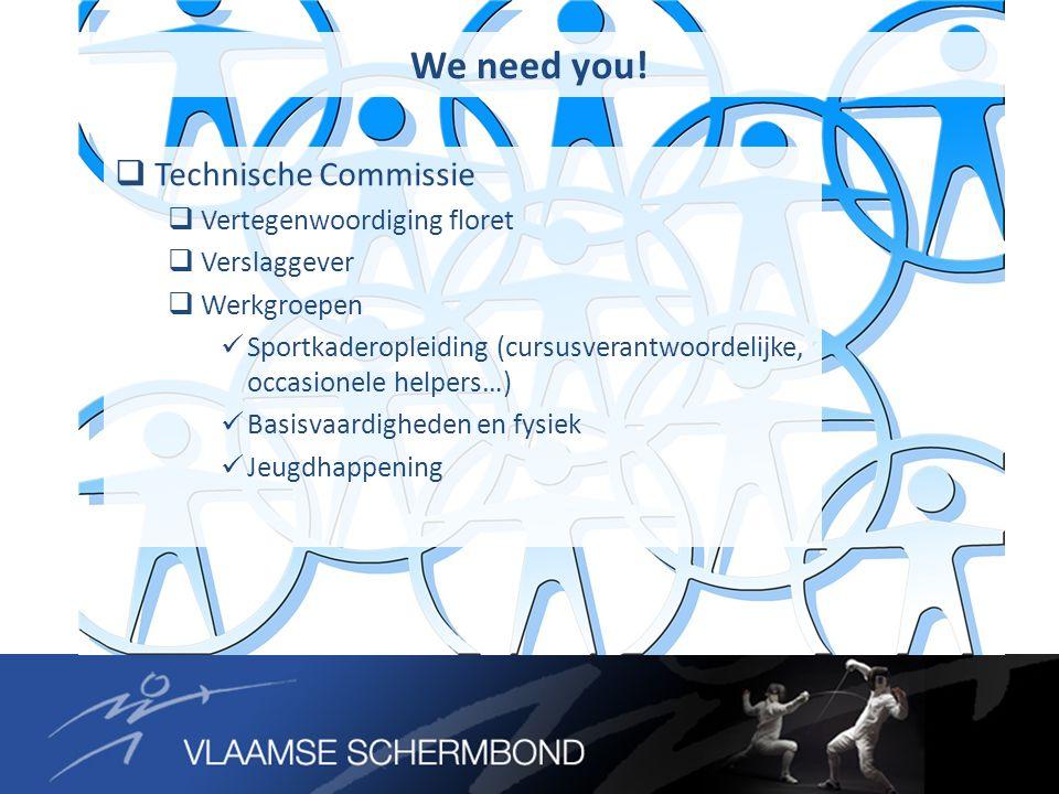  Technische Commissie  Vertegenwoordiging floret  Verslaggever  Werkgroepen Sportkaderopleiding (cursusverantwoordelijke, occasionele helpers…) Basisvaardigheden en fysiek Jeugdhappening