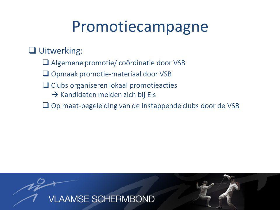 Promotiecampagne  Uitwerking:  Algemene promotie/ coördinatie door VSB  Opmaak promotie-materiaal door VSB  Clubs organiseren lokaal promotieacties  Kandidaten melden zich bij Els  Op maat-begeleiding van de instappende clubs door de VSB