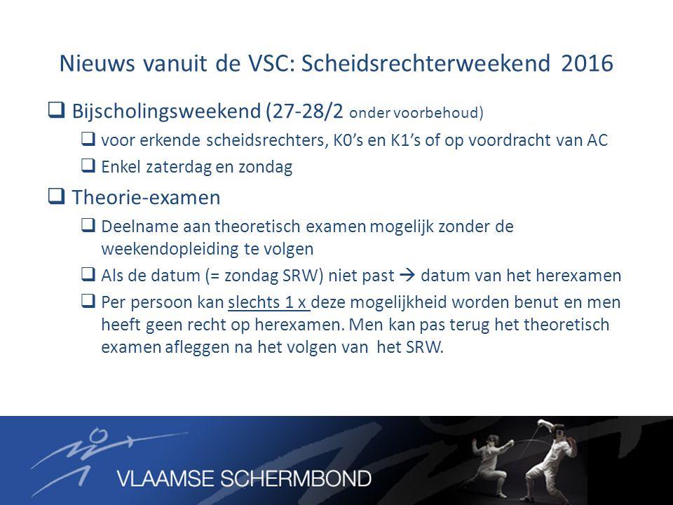 Nieuws vanuit de VSC: Scheidsrechterweekend 2016  Bijscholingsweekend (27-28/2 onder voorbehoud)  voor erkende scheidsrechters, K0's en K1's of op v