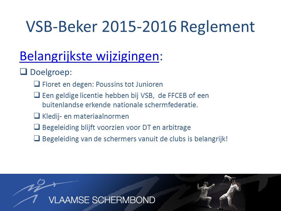 VSB-Beker 2015-2016 Reglement Belangrijkste wijzigingenBelangrijkste wijzigingen:  Doelgroep:  Floret en degen: Poussins tot Junioren  Een geldige licentie hebben bij VSB, de FFCEB of een buitenlandse erkende nationale schermfederatie.