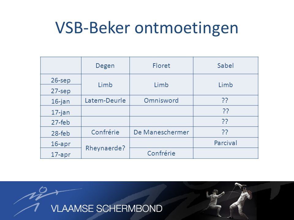 VSB-Beker ontmoetingen DegenFloretSabel 26-sep Limb 27-sep 16-jan Latem-DeurleOmnisword?? 17-jan ?? 27-feb ?? 28-feb ConfrérieDe Maneschermer?? 16-apr