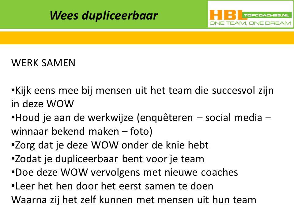 Wees dupliceerbaar WERK SAMEN Kijk eens mee bij mensen uit het team die succesvol zijn in deze WOW Houd je aan de werkwijze (enquêteren – social media