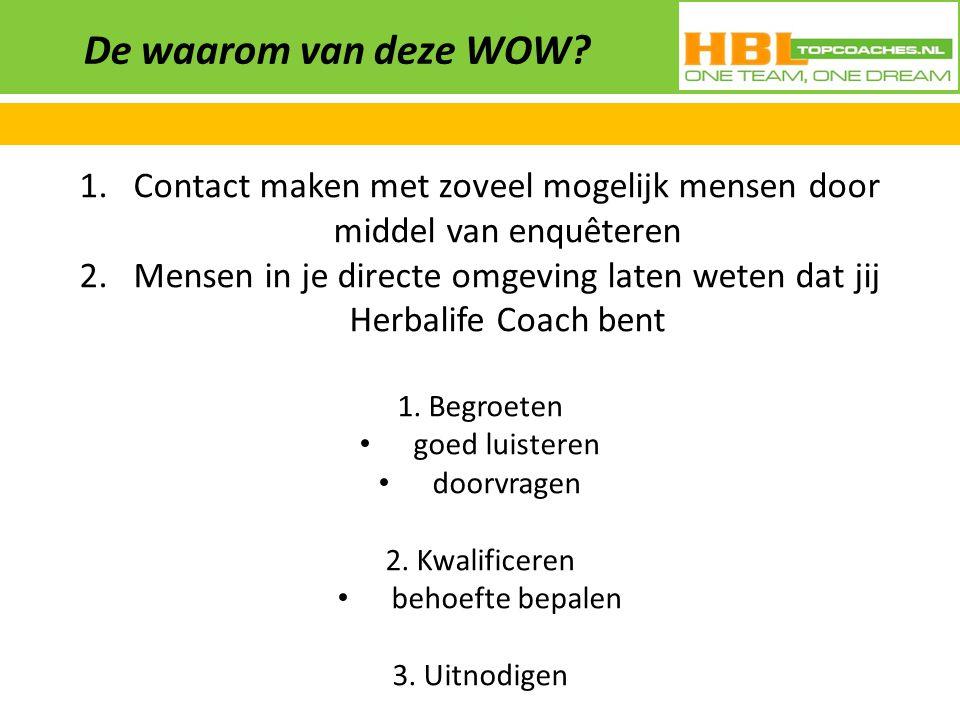 De waarom van deze WOW? 1.Contact maken met zoveel mogelijk mensen door middel van enquêteren 2.Mensen in je directe omgeving laten weten dat jij Herb
