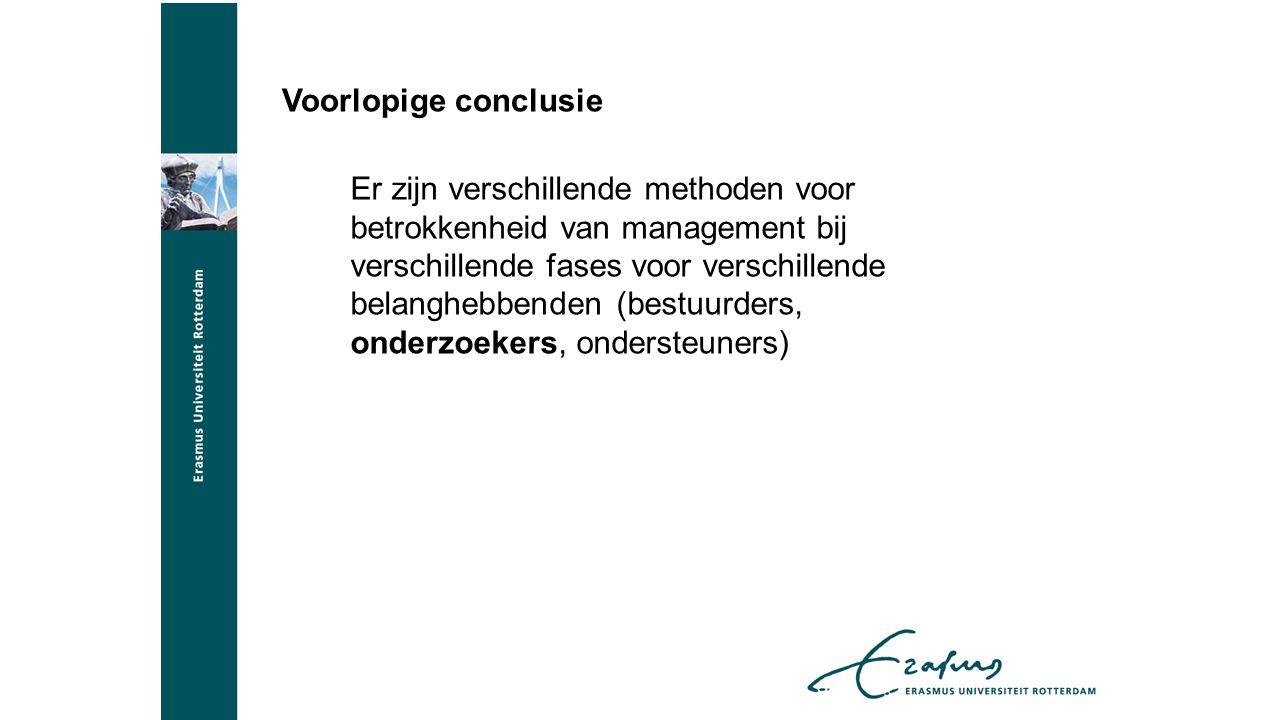 Voorlopige conclusie Er zijn verschillende methoden voor betrokkenheid van management bij verschillende fases voor verschillende belanghebbenden (bestuurders, onderzoekers, ondersteuners)