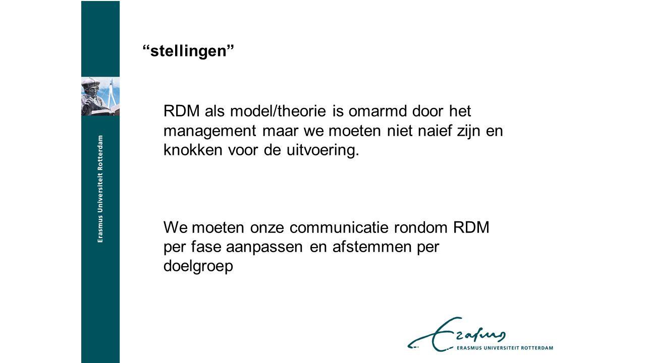 stellingen RDM als model/theorie is omarmd door het management maar we moeten niet naief zijn en knokken voor de uitvoering.