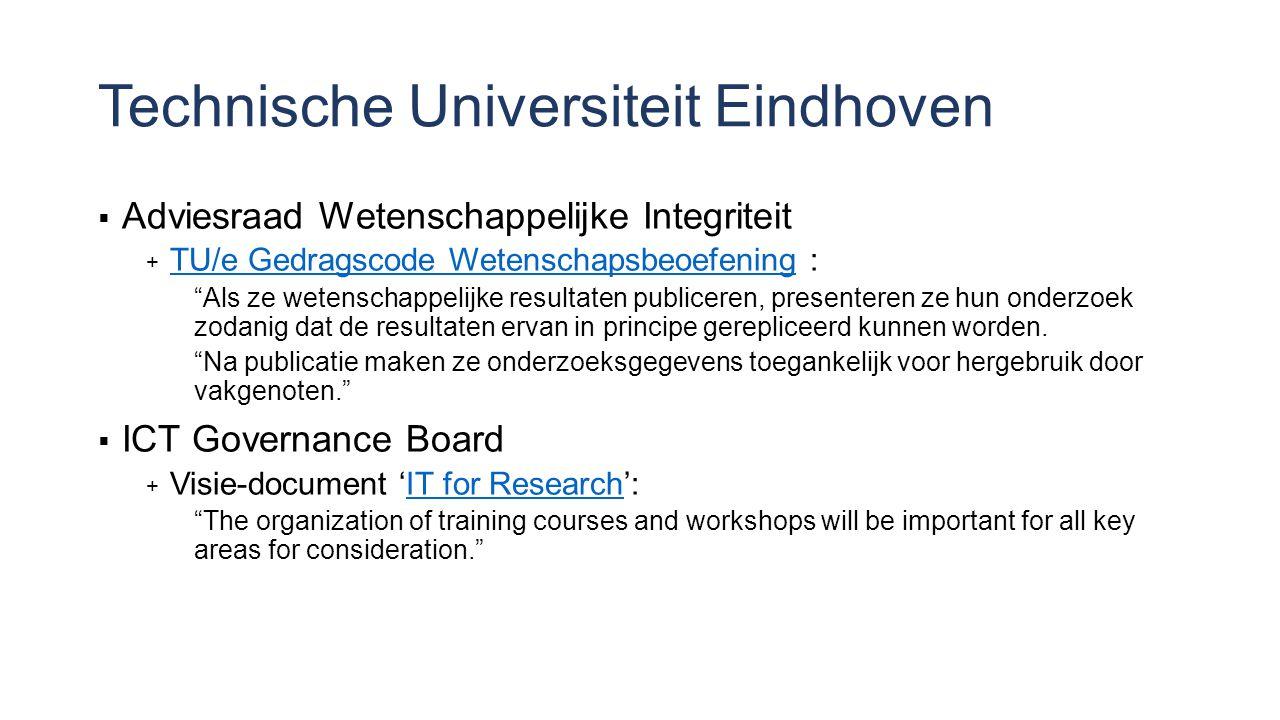 Technische Universiteit Eindhoven  Adviesraad Wetenschappelijke Integriteit  TU/e Gedragscode Wetenschapsbeoefening : TU/e Gedragscode Wetenschapsbeoefening Als ze wetenschappelijke resultaten publiceren, presenteren ze hun onderzoek zodanig dat de resultaten ervan in principe gerepliceerd kunnen worden.