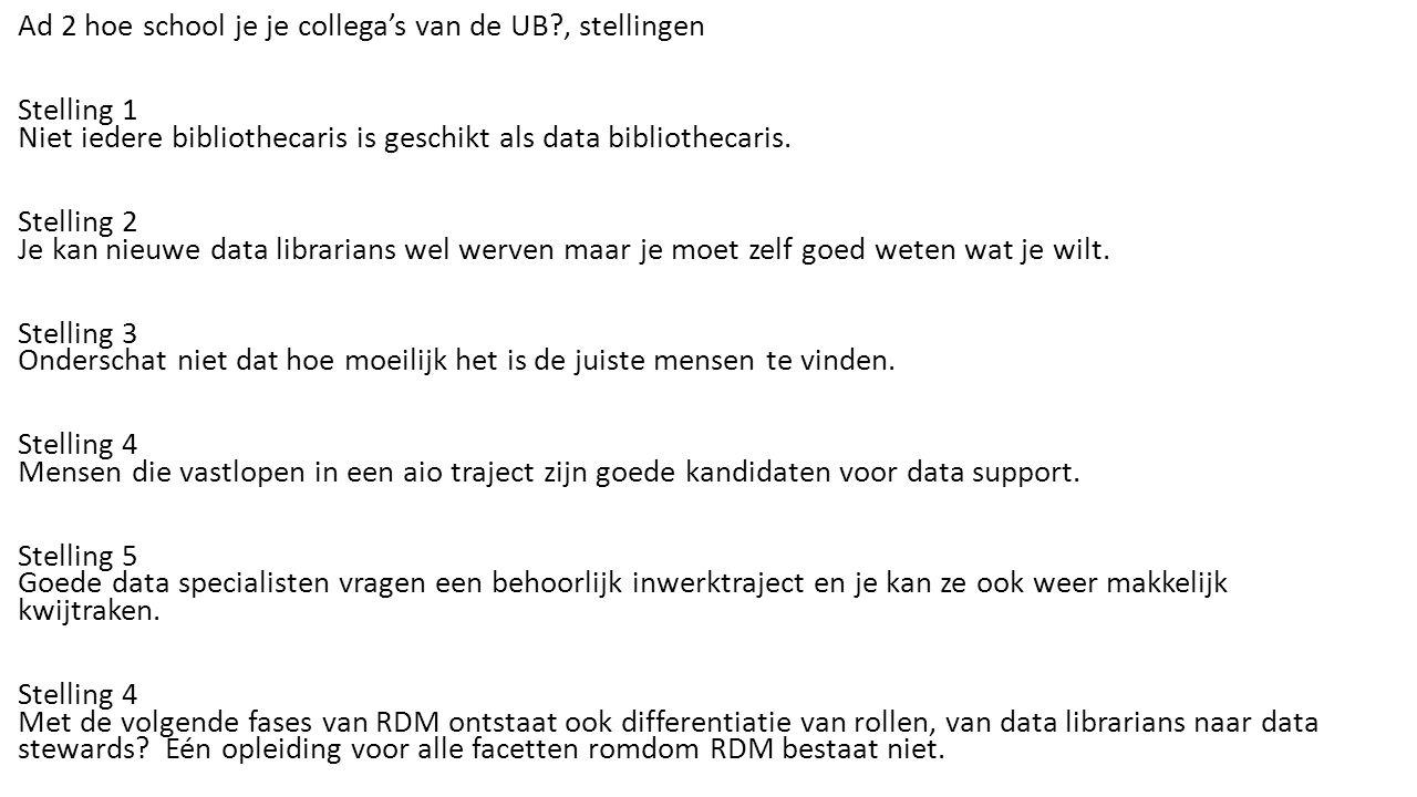 Ad 2 hoe school je je collega's van de UB , stellingen Stelling 1 Niet iedere bibliothecaris is geschikt als data bibliothecaris.