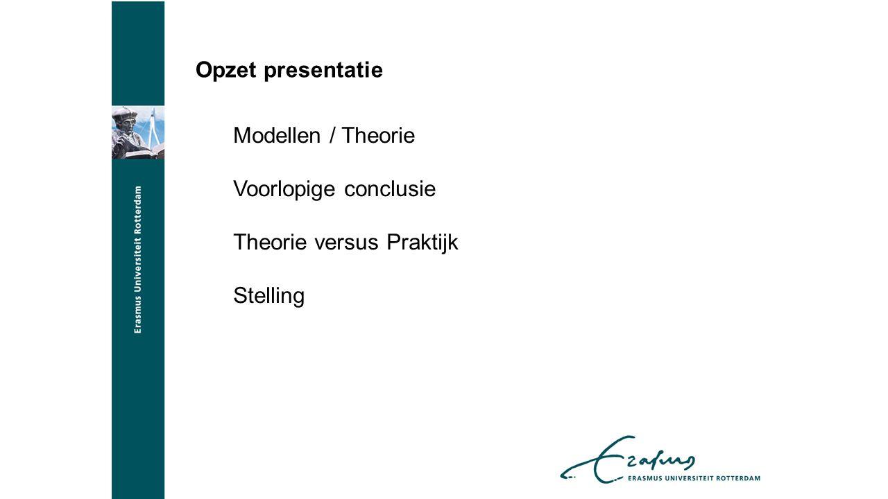 Opzet presentatie Modellen / Theorie Voorlopige conclusie Theorie versus Praktijk Stelling