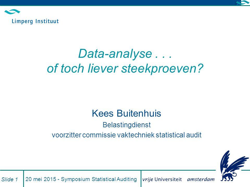 20 mei 2015 - Symposium Statistical Auditing Slide 1 Data-analyse...