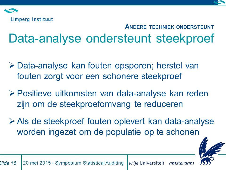 20 mei 2015 - Symposium Statistical Auditing Slide 15  Data-analyse kan fouten opsporen; herstel van fouten zorgt voor een schonere steekproef  Positieve uitkomsten van data-analyse kan reden zijn om de steekproefomvang te reduceren  Als de steekproef fouten oplevert kan data-analyse worden ingezet om de populatie op te schonen A NDERE TECHNIEK ONDERSTEUNT Data-analyse ondersteunt steekproef