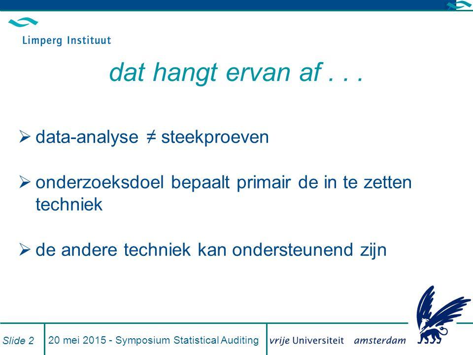 20 mei 2015 - Symposium Statistical Auditing Slide 2 dat hangt ervan af...