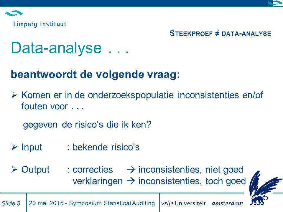 20 mei 2015 - Symposium Statistical Auditing Slide 3 beantwoordt de volgende vraag:  Komen er in de onderzoekspopulatie inconsistenties en/of fouten voor...