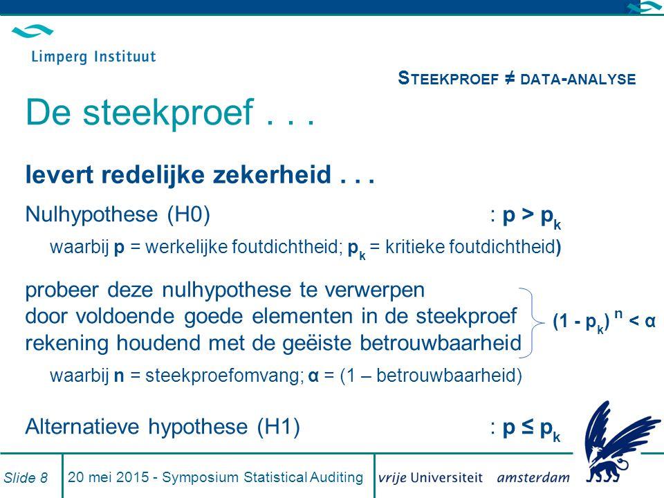 20 mei 2015 - Symposium Statistical Auditing Slide 8 S TEEKPROEF ≠ DATA - ANALYSE De steekproef...
