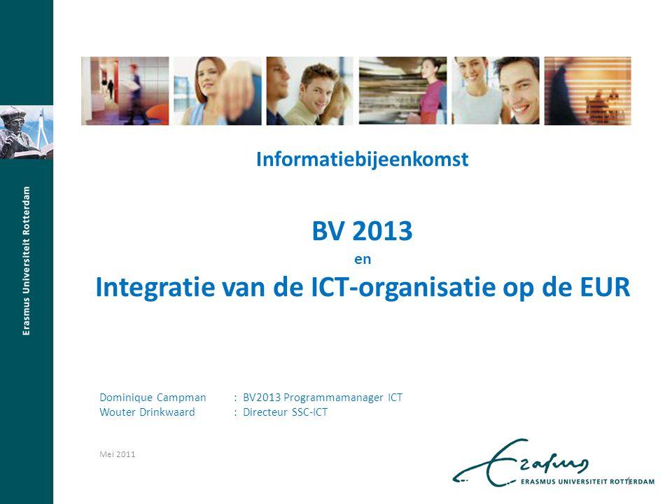 Informatiebijeenkomst BV 2013 en Integratie van de ICT-organisatie op de EUR Dominique Campman : BV2013 Programmamanager ICT Wouter Drinkwaard : Direc