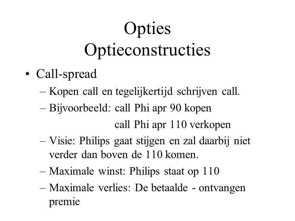 Opties Optieconstructies Call-spread –Kopen call en tegelijkertijd schrijven call. –Bijvoorbeeld: call Phi apr 90 kopen call Phi apr 110 verkopen –Vis