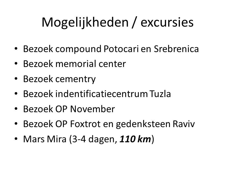 Mogelijkheden / excursies Bezoek compound Potocari en Srebrenica Bezoek memorial center Bezoek cementry Bezoek indentificatiecentrum Tuzla Bezoek OP November Bezoek OP Foxtrot en gedenksteen Raviv Mars Mira (3-4 dagen, 110 km)