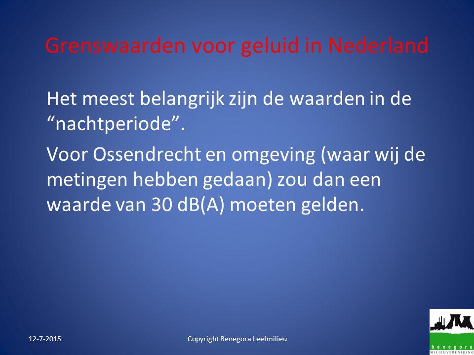 """Grenswaarden voor geluid in Nederland Het meest belangrijk zijn de waarden in de """"nachtperiode"""". Voor Ossendrecht en omgeving (waar wij de metingen he"""