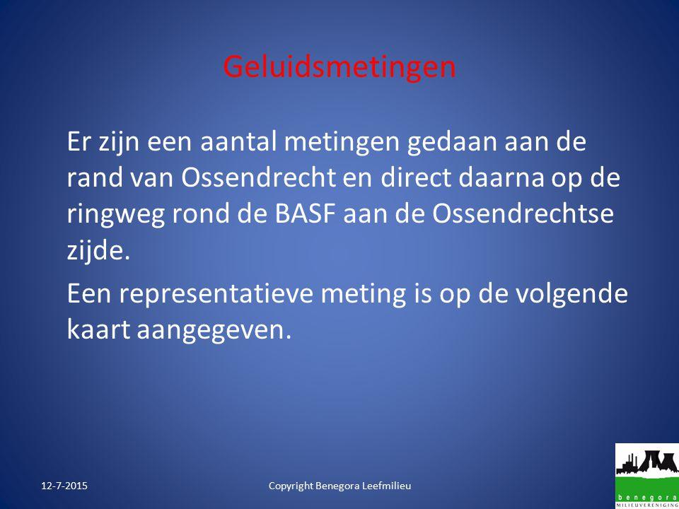 Geluidsmetingen 12-7-2015Copyright Benegora Leefmilieu Er zijn een aantal metingen gedaan aan de rand van Ossendrecht en direct daarna op de ringweg rond de BASF aan de Ossendrechtse zijde.