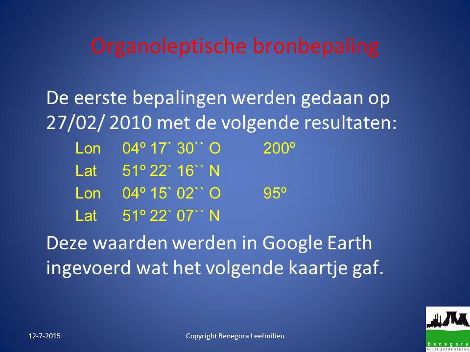 Organoleptische bronbepaling De eerste bepalingen werden gedaan op 27/02/ 2010 met de volgende resultaten: Lon04º 17` 30`` O200º Lat51º 22` 16`` N Lon04º 15` 02`` O95º Lat51º 22` 07`` N Deze waarden werden in Google Earth ingevoerd wat het volgende kaartje gaf.