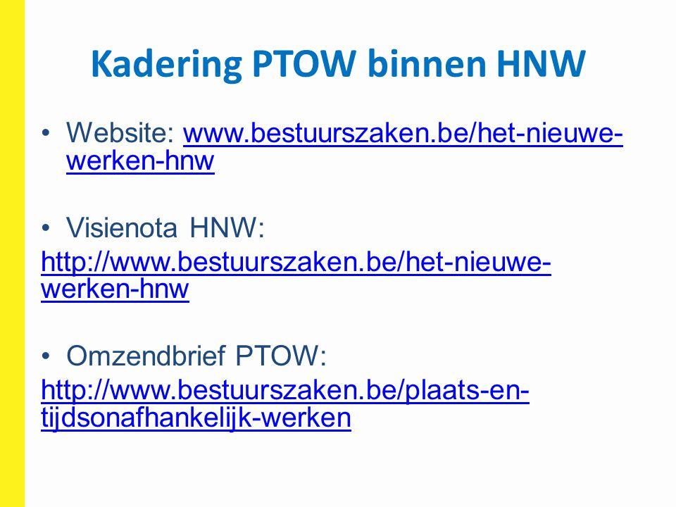 Kadering PTOW binnen HNW Website: www.bestuurszaken.be/het-nieuwe- werken-hnwwww.bestuurszaken.be/het-nieuwe- werken-hnw Visienota HNW: http://www.bes