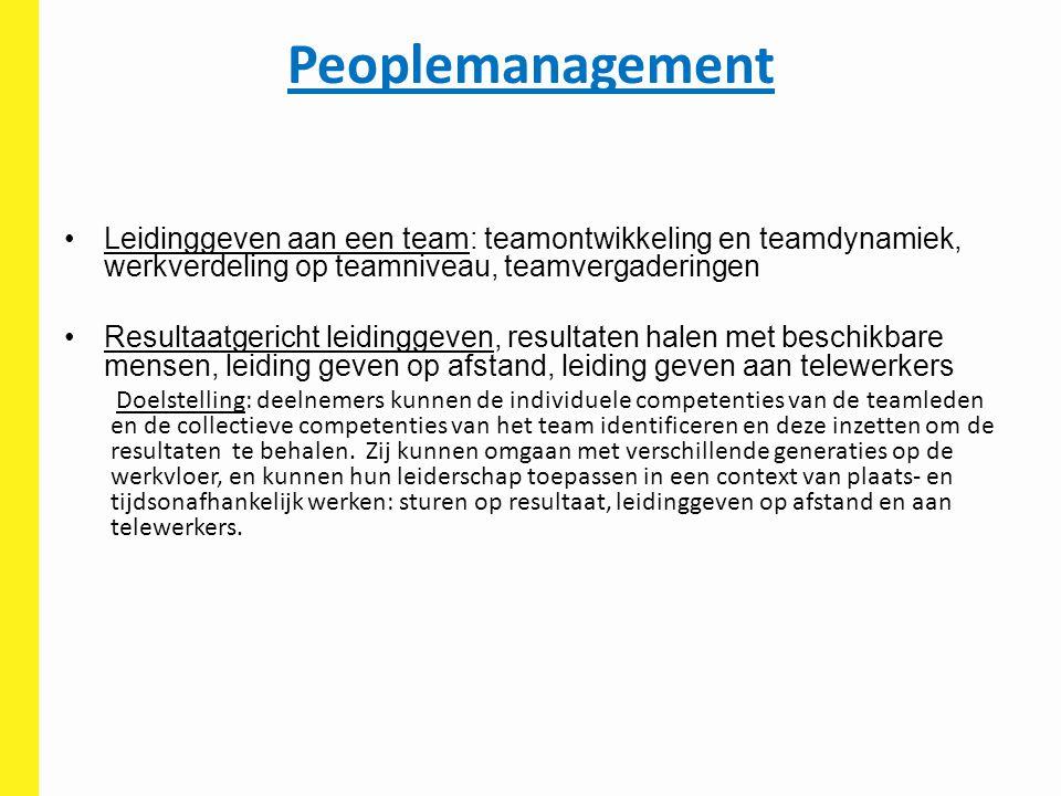 Peoplemanagement Leidinggeven aan een team: teamontwikkeling en teamdynamiek, werkverdeling op teamniveau, teamvergaderingen Resultaatgericht leidingg