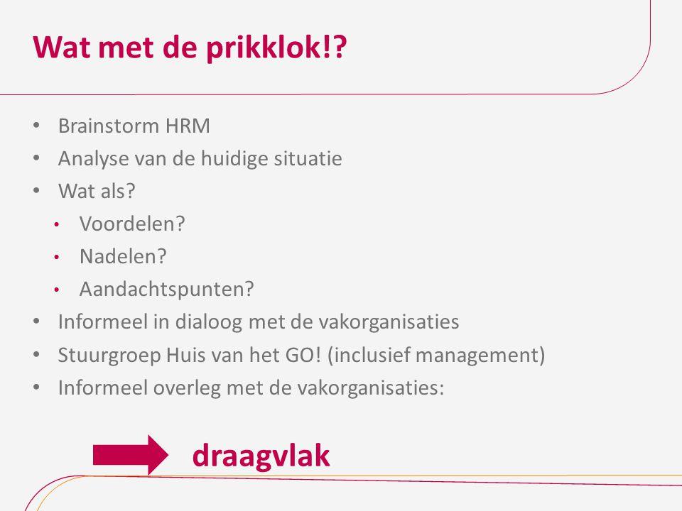 Wat met de prikklok!? Brainstorm HRM Analyse van de huidige situatie Wat als? Voordelen? Nadelen? Aandachtspunten? Informeel in dialoog met de vakorga