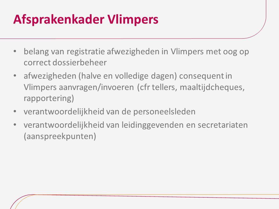 Afsprakenkader Vlimpers belang van registratie afwezigheden in Vlimpers met oog op correct dossierbeheer afwezigheden (halve en volledige dagen) conse