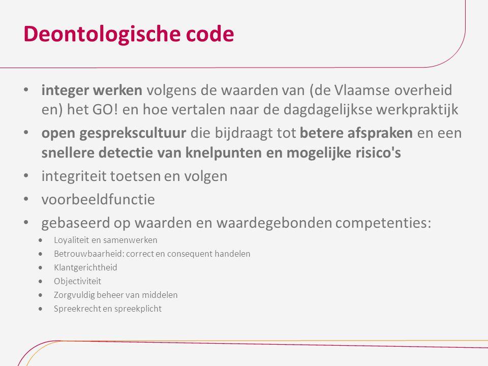 Deontologische code integer werken volgens de waarden van (de Vlaamse overheid en) het GO! en hoe vertalen naar de dagdagelijkse werkpraktijk open ges